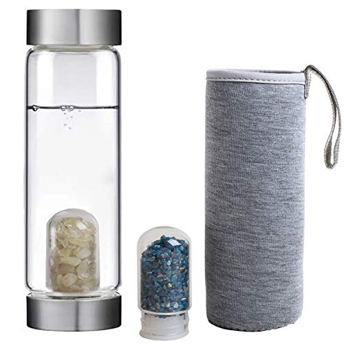 JIC Gem Crystal Water Bottle Gemstone Infused Wellness Energy Gems Water Bottle with 2 Interchangeable Crystal and Protective Sleeve 16 oz