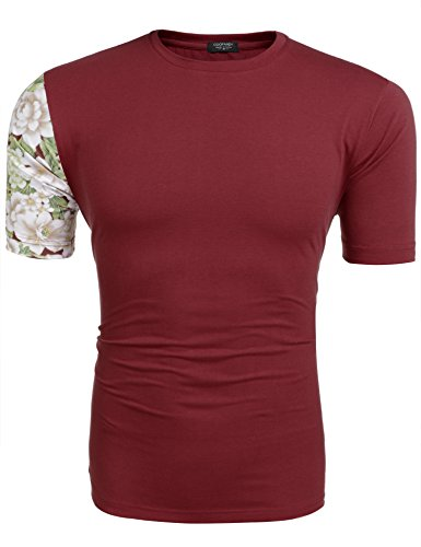 Coofandy Mens Floral Short Sleeve Contrast Color T-Shirt Crew Neck Cotton Tee, Red, - T-shirt Crew Contrast Collar