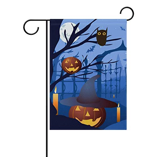 SINOVAL Halloween Pumpkin Hat Trees Double-Sided Polyester Garden Home Funky Flag Banner for Party Home Outdoor Decor 12x18 inch ()