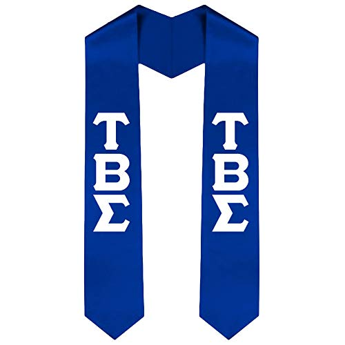 Tau Beta Sigma Greek Lettered Graduation Sash Stole 60 Inches Royal Blue w/White Imprint