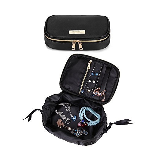 Travel Jewelry Organizer Bag Case Fashion Holder Rolls PU Leather Box with Zipper Women Jewelry Portfolio Bags Necklace and Earring Drawer Storage Small Pouch (Black) (Case Fashion Earrings)