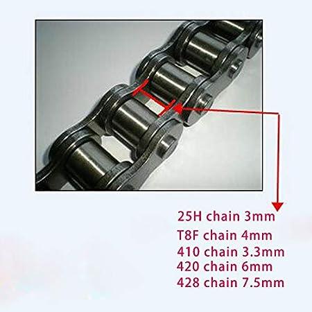 25H T8F 410 420 428 Cadena de la Bicicleta for la Bici el/éctrica Motocicleta de la Bicicleta del Triciclo MY1016 MY1020 MY1016Z3 BM1418ZXF Motor Color : 25H FJJ-LIANTIAO