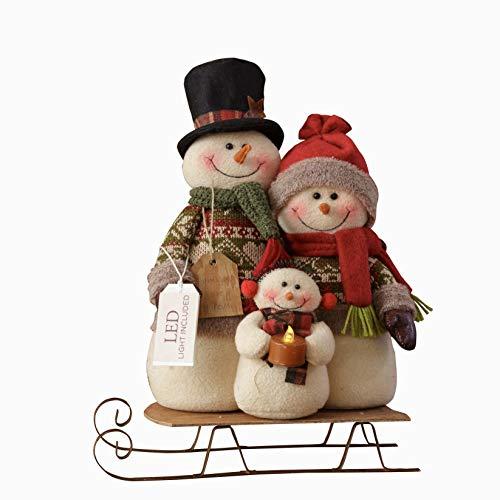 Your Heart s Delight Your Snowman Family On Sled, Led Light, Multi