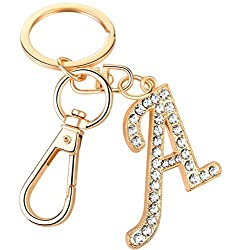 """Crystal Alphabet Initial Letter Pendant """"A"""" with Key Ring"""