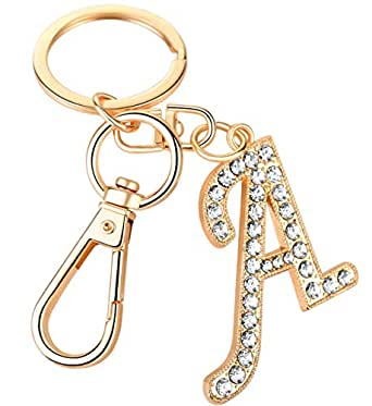 A Letter Keychain for Women Cute Bag Charms Crystal Alphabet Initial Pendant with Key Ring