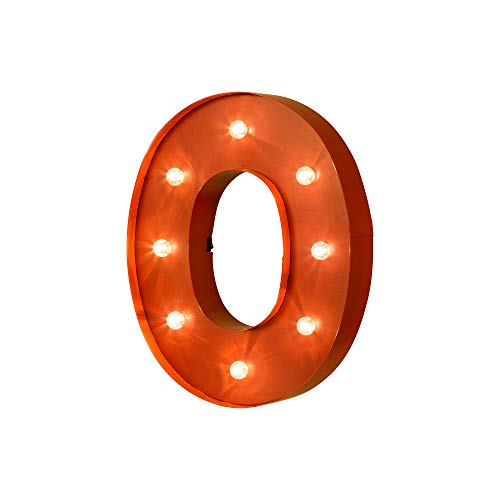 Glitzhome Vintage Marquee LED Lighted Letter O Sign Battery Operated Red -