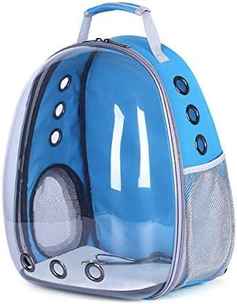 ケージアウトドア旅行ペットキャリアキャリングバッグダブルショルダー透明スペースカプセルペットの猫リュックウィンドウ小型犬,ブルー