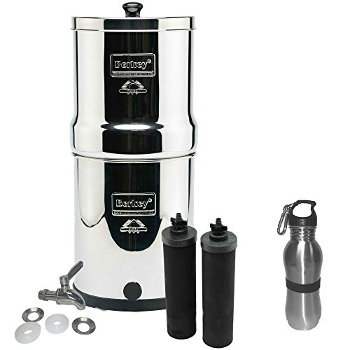 1.5 Water Filter System - Travel Berkey Water Filter Stainless Steel Bundle: 2 Black Filters, Stainless Steel Spigot, 1 Stainless Steel Water Bottle (1.5 Gallon Travel Berkey)