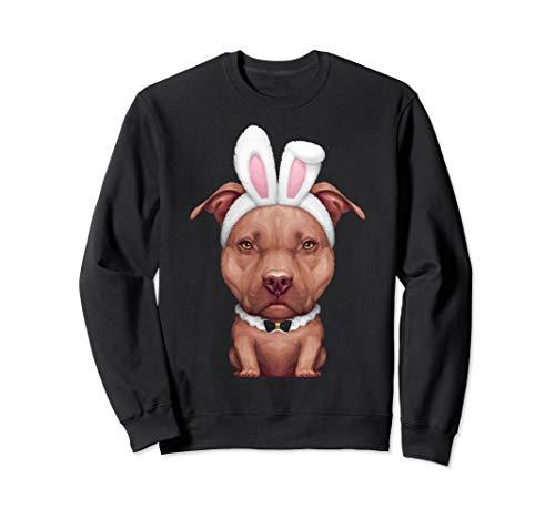 Chocolate Pit Bull Terrier in Bunny Costume Sweatshirt]()