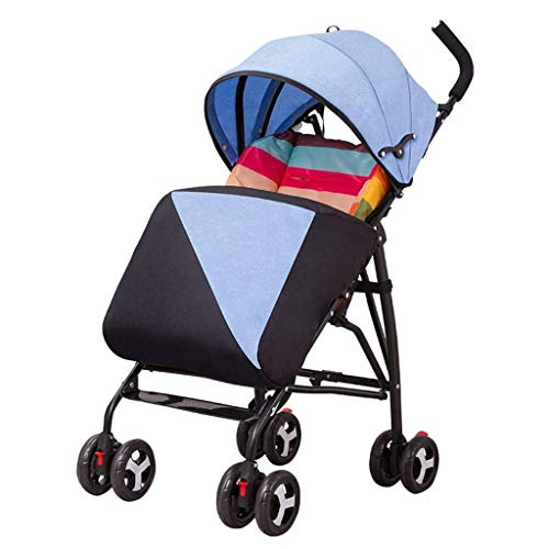 Zsail High View Baby Pushchair Travel System Newborn Infant Pram with Anti-Shock Spring for 0-36 Months with Warm Foot Cover (Color : Blue)