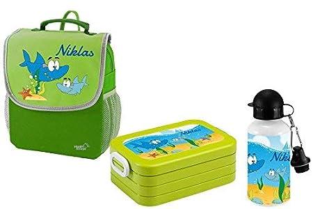 Mein Zwergenland Set 3 Kindergartenrucksack mit Brotdose und Trinkflasche Happy Knirps Next mit Name Bagger, 3-teilig, Grün Grün ZL-S3RF-GRBA