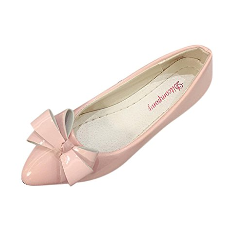 Women's Ballet Flats Bow Pointy Toe Shoes Casual Flat Slip-On Summer Sandals Boat Pumps Dress Shoes (Pink, US: 7.5 (39))