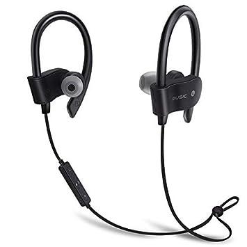 Miya - Auriculares inalámbricos Bluetooth deportivos impermeables para iPhone Xiaomi y Samsung, negro: Amazon.es: Jardín