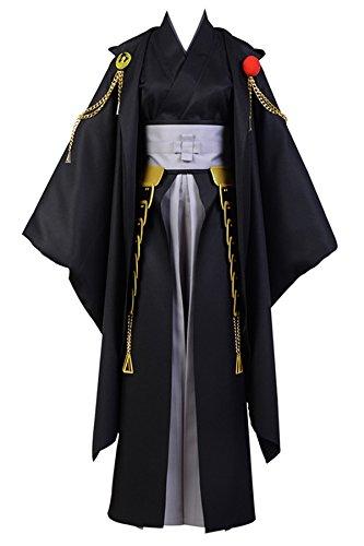 Cigarette Girl Costume Pattern (Costhat Touken Ranbu Tsurumaru Kuninaga Black Kimono Suit Dress Cosplay Costume)
