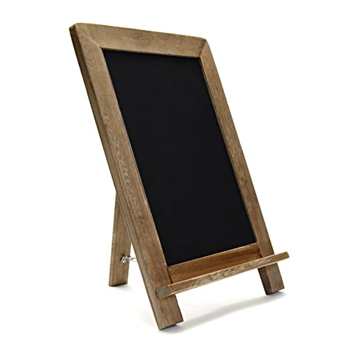 - Rustic Wooden Framed Standing Chalkboard Sign with Non-Porous Magnetic Chalk Board Surface for Vintage Decor for Kitchen, Restaurant, Bar Countertop, Wedding, and Home