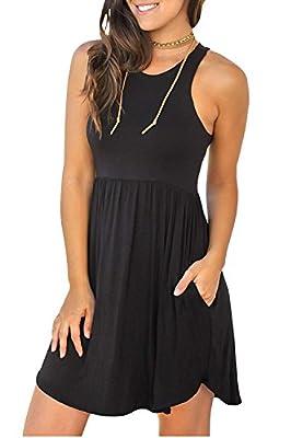 IWOLLENCE Women's Sleeveless Loose Plain Dresses Casual Short Dress with Pockets