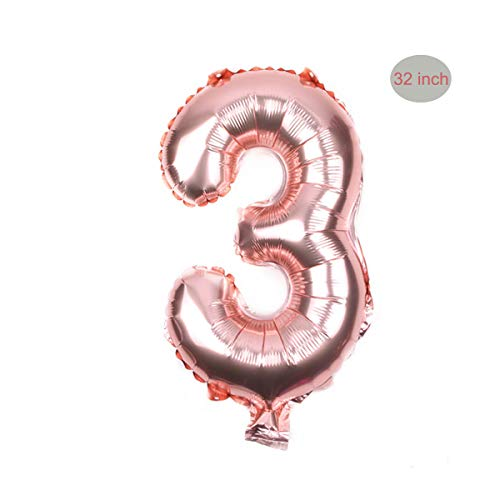 Gold 3 Number Big Foil Balloons 32 inch Giant Jumbo Helium Foil Mylar Balloons Foil Rose Gold Balloons for Birthday Party,Wedding, Bridal Shower Engagement Photo Shoot, Anniversar ()