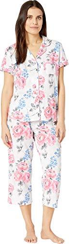 Karen Neuburger Womens Petite Cosmopolitan Short Sleeve Girlfriend Capris PJ Floral/Pink PM (US 10P-12P)