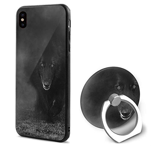 Phone X Case Belgian Sheepdog Walking Through Mist. Photograph Ring Cell Phone Holder Adjustable 360°Rotation Mobile Phone Stand A Trading Ultra Thin PC Hard Lightweight Protection Cover
