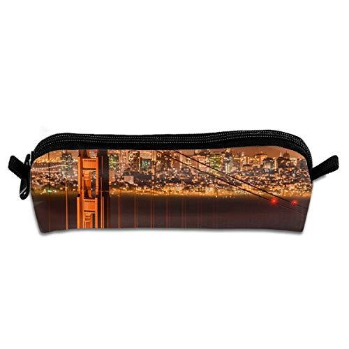 Diemeouk Pencil Case Golden Gate Bridge Zippered Pen Bag Cosmetic Makeup Bags for Colored Watercolor Pencils