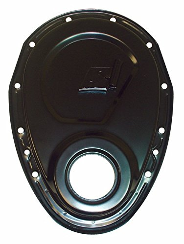 1955-95 Chevy Small Block 283-305-327-350-400 Steel Timing Chain Cover w/ Timing Tab - Black Steel Timing Cover