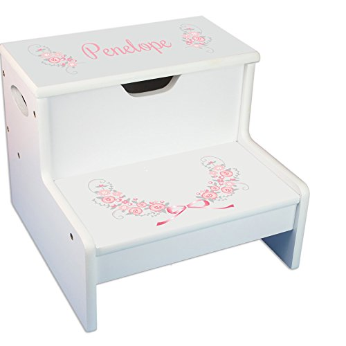Personalized Pink Gray Floral Garland White Childrens Step Stool with Storage