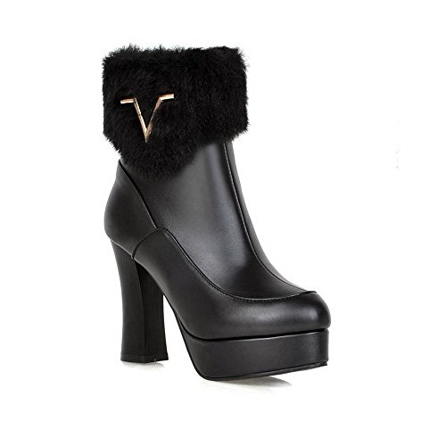 VogueZone009 Damen Rein Hoher Absatz Rund Zehe Blend-Materialien Reißverschluss Stiefel, Schwarz, 41