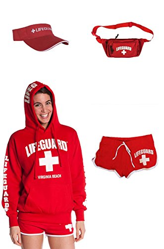 Lifeguard Costumes Shorts (Ladies Warm Costume Comes With Lifeguard hoodie Visor Hi Cut shorts Fanny pack (Large))