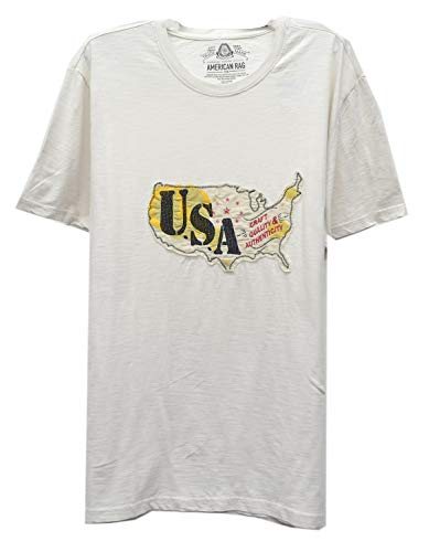 American Rag CIE Men's Cotton Crew Neck T-Shirt Country Embroidered USA Vintage White XL from American Rag