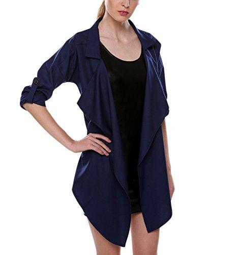 Elegantes Sólido De Anchas Invierno Irregular Coat Manga Abrigos Mujer Larga Otoño Marino Color Solapa Gabardina Azul Simple Trench Tallas Casual Grandes Outerwear Chaquetas De Upq0wtt