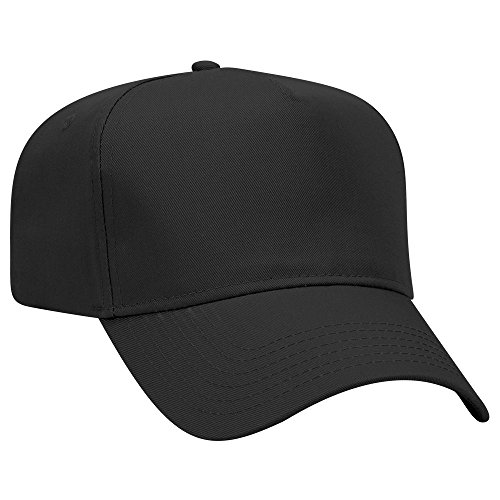 OTTO Cotton Blend Twill 5 Panel Pro Style Baseball Cap - Black