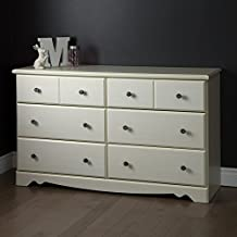 South Shore Furniture Country Poetry 6-Drawer Double Dresser, White Wash