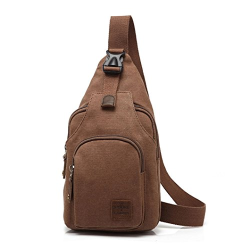 MOORE CARDEN Fashion Men¡¯s Canvas Cross body Daypack Chest Pack Sports Bag Satchel Shoulder Bag(Coffee)