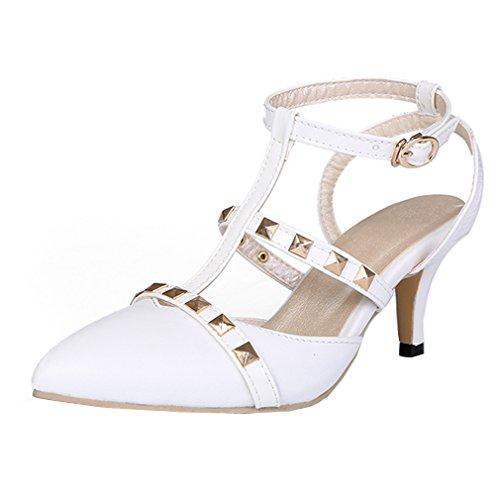 YE Damen Spitze T-spangen klein Absatz Kitten Pumps mit Nieten und Schnalle Schuhe