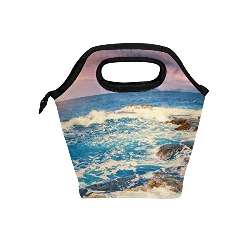 JOYPRINT Lunch Box Bag, Ocean Sea Summer Beach Sunset Insulated Cooler Ice Lunchbox Tote Bag Handbag for Men Women Kids Adult Boys Girls by JOYPRINT