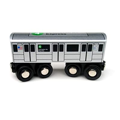 Munipals NYC Subway 4 Car Toy Train Wooden Railway Compatible: Toys & Games