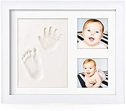 Marco de fotos con huella de mano y pie del bebé, regalo original para recién nacidos, kit de madera con molde de arcilla blanca.