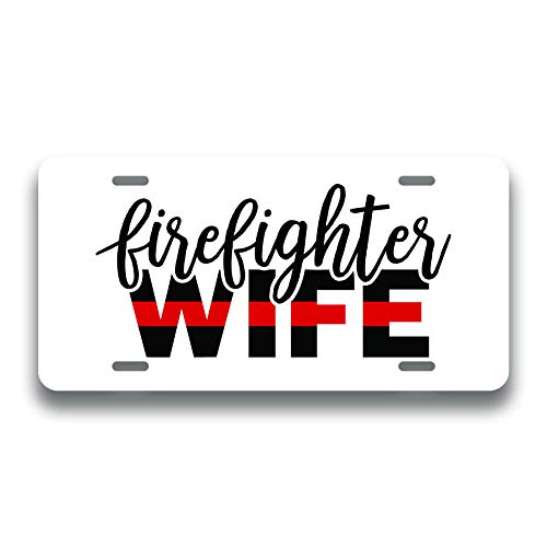 Firefighter Wife Flag Printed Vanity Front License Plate Tag KCFP116 ()
