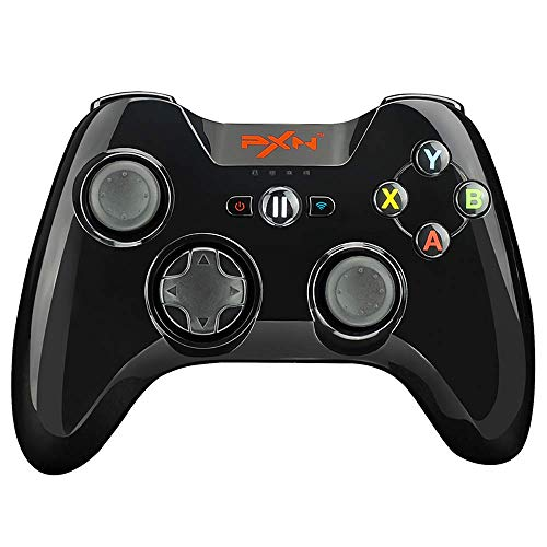 Wireless Bluetooth Gamepad PXN 6603 | Four - Axis Positioning Technology Gaming Controller | Pressure Sensitive Buttons with Phone Holder for Apple Tv
