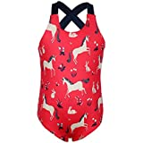 Dance Fairy Molliya Girls Swimsuits Toddler Kids One Piece Bathing Suit Unicorn/Flower/Stripes Prints Beachwear(Unicorn,10)