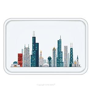 Franela de microfibra antideslizante suela de goma suave absorbente Felpudo alfombra alfombra alfombra Chicago Skyline 478020517para interior/exterior/cuarto de baño/cocina/Estaciones de trabajo