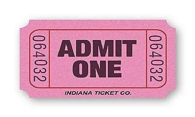 2000 Green Admit One Single Roll Consecutively Numbered Raffle Ticket by 50/50 Raffle Tickets