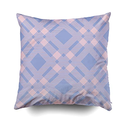 otton Square Pillow Case Covers with Zippered Closing for Home Sofa Decor Size 18X18 inch Costom Pillowcse Throw Cover Cushion Tartan Plaid Pattern in Blue Pink Tone ()
