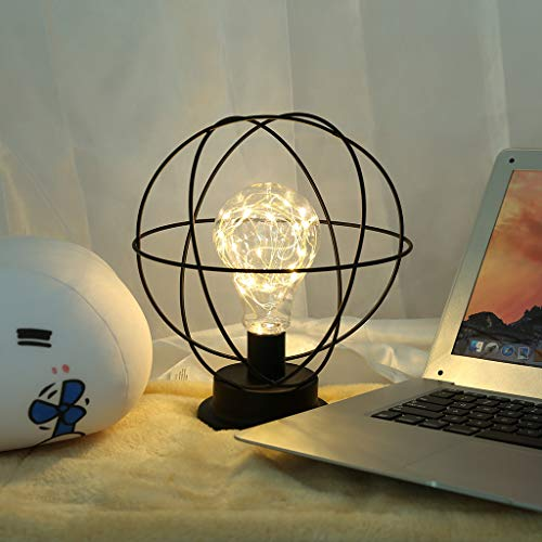Led Industrial Metal Table Lamp - Accent Light Battery-Operated Lamp Globe Decoration Light Nightstand Lamp for Living Room Bedroom (Earth Black)