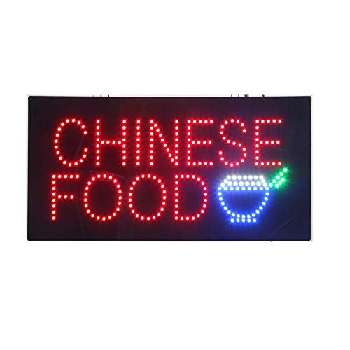 LED Chinese Food Open Light Sign Super Bright Electric Advertising Display Board for Asian Specialty Bistro Restaurant Business Shop Store Window Bedroom Decor 24 x 12 inches