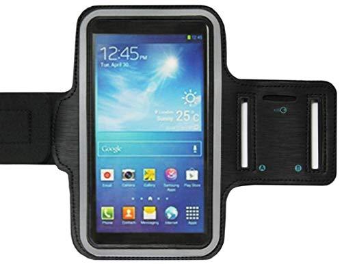 ADEL Sport armband microvezel telefoonhoes 5.5 inch compatibel met Samsung Galaxy A6 (plus) – zwart