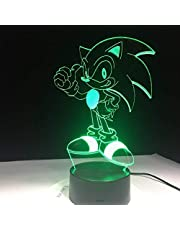Anime Sonic The Hedgehog Figura 3D Lámpara de mesa Led Efecto de flash 7 Colorido Acrílico Ilusión visual USB Luces LED Niños Sleep Lamp-Touch-Remote Control