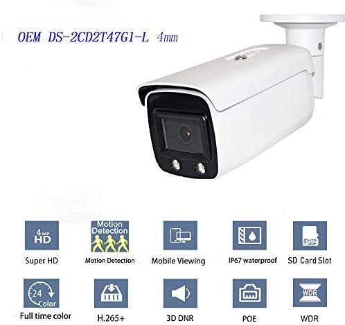 4MP Outdoor Security ColorVu Bullet POE Camera OEM DS-2CD2T47G1-L 4mm, Full time Color Network Surveillance Camera HS-VUB14G1-I 4mm with MicroSD Slot H.265 , Ip66 Waterproof WDR