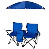 Travelers Double Folding Picnic Chair Umbrella Table Blue Combo | With Removable Adjustable Umbrella Beverage Holding Compartment Cooler Keep Drinks Cold | For Park Backyard Camping | Nylon 14.25 Lbs