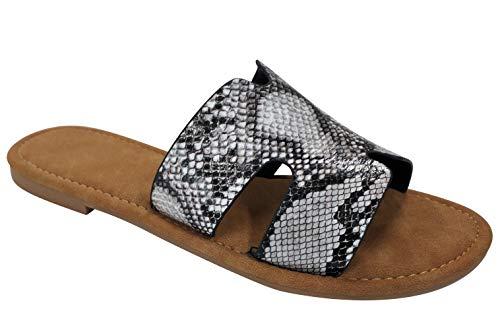 (Best Fun New Open Toe Backless Slipon Greek Boho Sandal Slide for Sale Women Big Girls (Snake Skin Size 6))